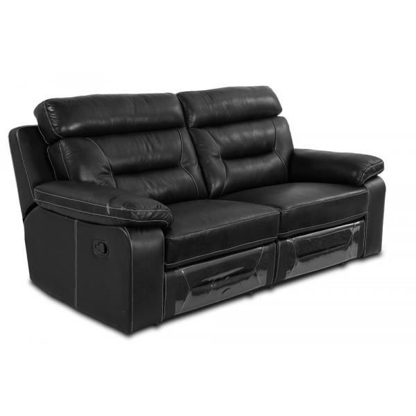 canap 3 places relax manuel cuir noir soho achat vente canap sofa divan cdiscount. Black Bedroom Furniture Sets. Home Design Ideas