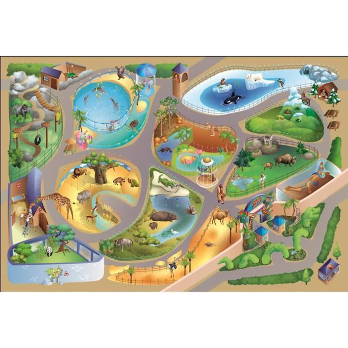 Tapis Enfant Jeu Circuit Connecte Zoo Multicolore 100x150