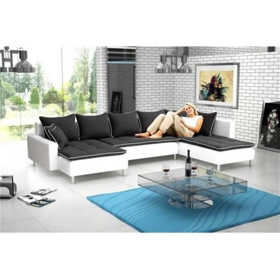 canap d 39 angle en u nina noir blanc angle droit achat vente canap sofa divan cdiscount. Black Bedroom Furniture Sets. Home Design Ideas