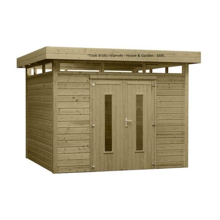 Abri Toit Plat Design 12m2 Traitement Tilleul Achat Vente Abri Jardin Chalet Abri Toit Plat Design 12m2 Cdiscount