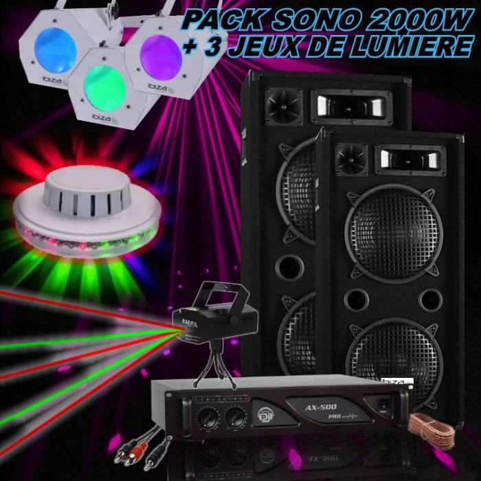 pack sono 2000w ampli sono 2 enceintes 1000w 3 jeux de lumi re pa dj pack sono avis et. Black Bedroom Furniture Sets. Home Design Ideas