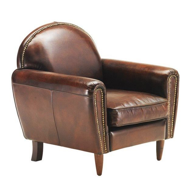 fauteuil club tradition vintage cuir marron achat vente fauteuil marron cdiscount. Black Bedroom Furniture Sets. Home Design Ideas
