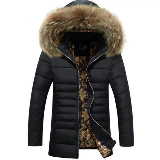 mode faux raccoon col de fourrure manteau homme noir achat vente manteau caban cdiscount. Black Bedroom Furniture Sets. Home Design Ideas