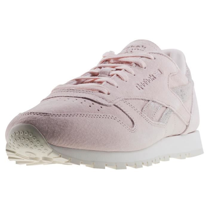 320d827777f1a Reebok Classic Leather Shimmer Femmes Baskets Rose clair - 7 UK Rose ...