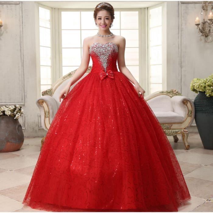 Olali Mode Classique Rouge Robes De Mariee Plus La Taille Pas Cher Avec Cristal Arc Rouge Achat Vente Robe De Mariee Cdiscount