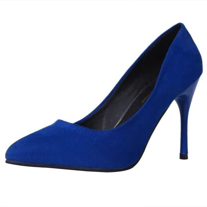 Fine Fashion Toe Pointed Slip Bleu Leisure High Femmes Party on Heel Pumps Shoes qx6UR