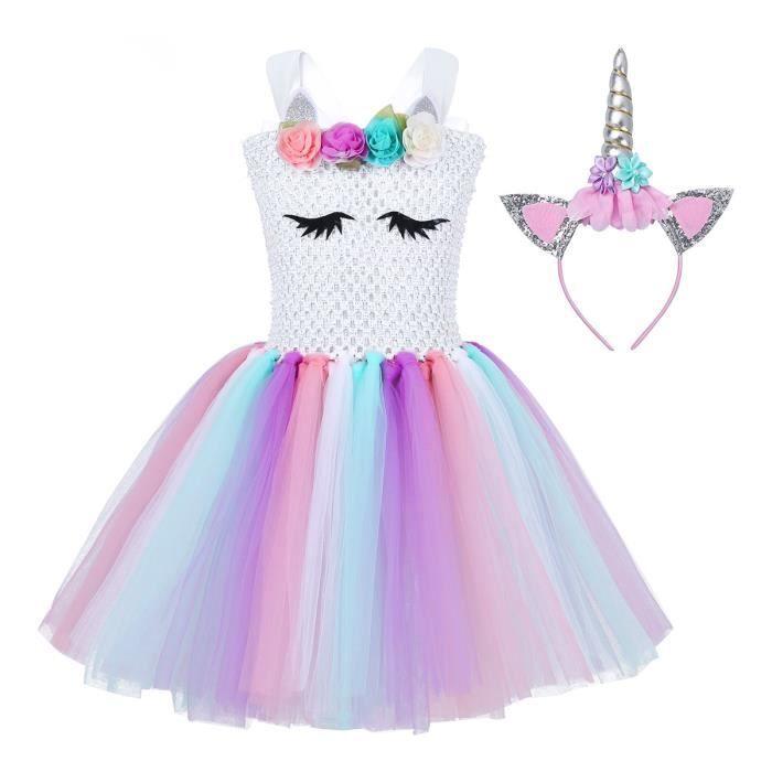 Squelette Fille Multicolore Halloween Costume Fancy Dress Costume Âge 4-12 Ans
