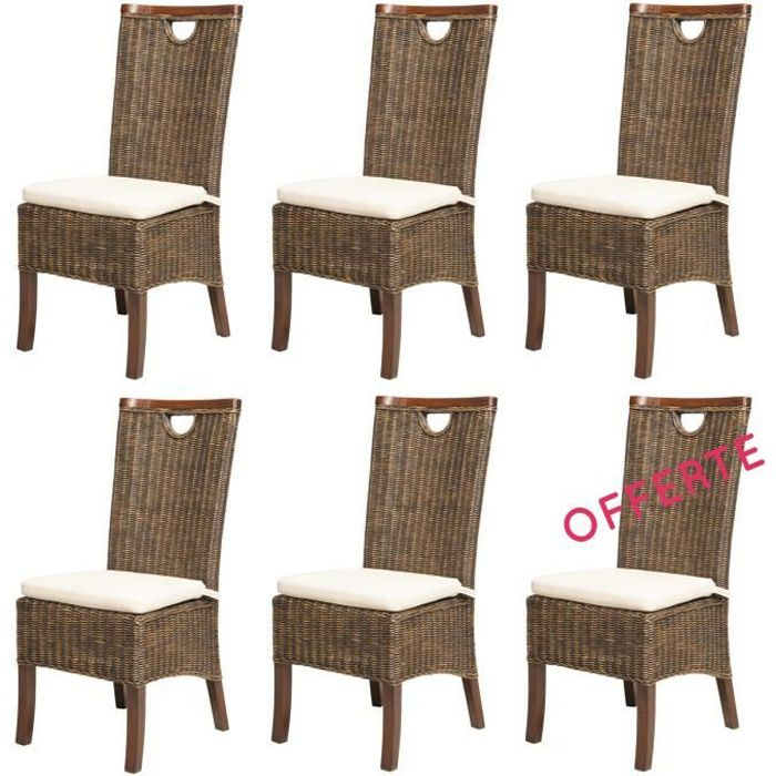 lot 6 chaises racine moka rotin achat vente chaise rotin 100 coton cdiscount. Black Bedroom Furniture Sets. Home Design Ideas