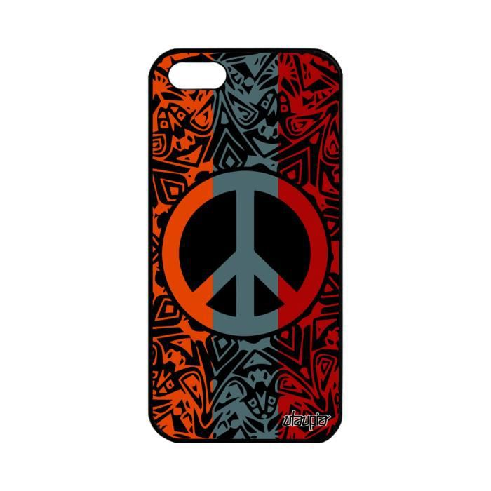 coque apple iphone 5 5s se silicone peace and love