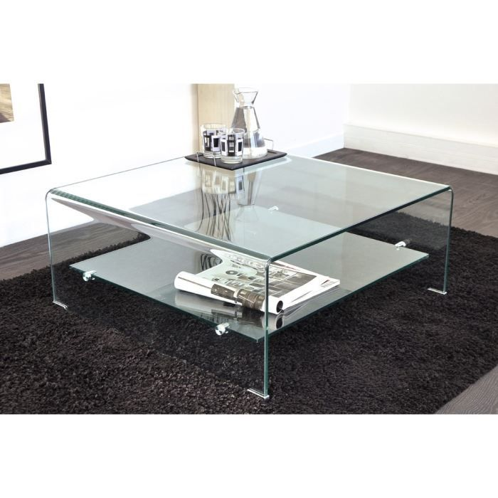 Vera table basse carr e en verre courb 80 x 80 cm achat - Tables basses en verre ...