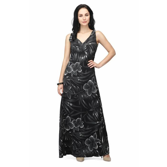 Womens Black Printed Maxi Dress IMM01 Taille-40