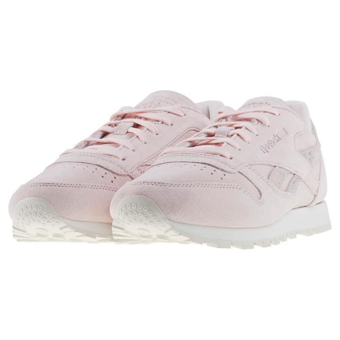 UK Baskets Classic Femmes Leather clair Rose Reebok Shimmer 7 w8OxHc7