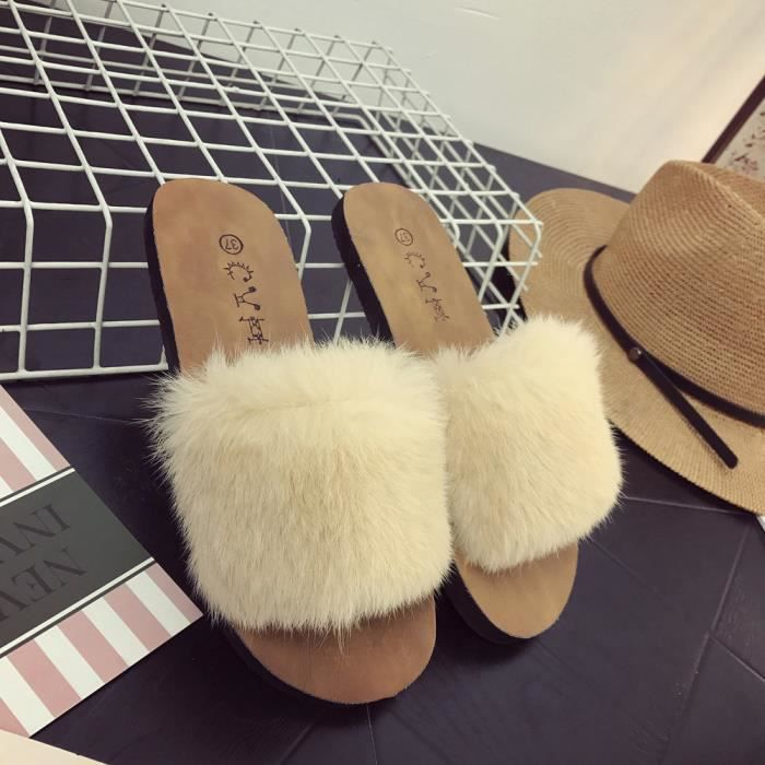 Femmes Plat En Fourrure Slip Sandal On Sliders beige Fausse Ladies Fluffy Summer Slipper g5qfzz