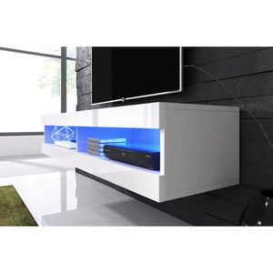 MEUBLE TV Meuble tv suspendu blanc mat façade laqué avec Led