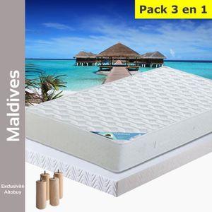 ENSEMBLE LITERIE Maldives - Pack Matelas + AltoFlex 140x190 + Pieds