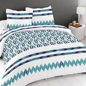 bleu housse-de-couette-240x260cm Best Interior Parure de couette 2 places 3pcs 100/% coton Mido