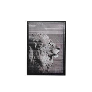 TABLEAU - TOILE Tableau Savane Lion - Nos Envies Déco Gris