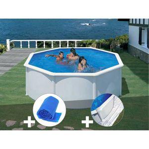 PISCINE Kit piscine acier blanc Gré Fidji ronde 3,70 x 1,2