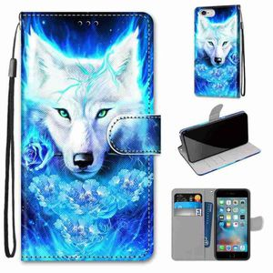 coque iphone 6s 6 loup blanc en pu cuir avec coule