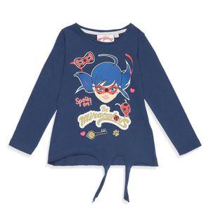 T-SHIRT MIRACULOUS T-shirt Lady Bug Bleu Marine Enfant Fil