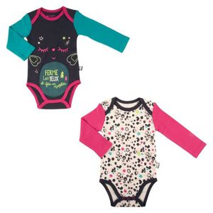 BODY Lot de 2 bodies bébé fille manches longues Wish -