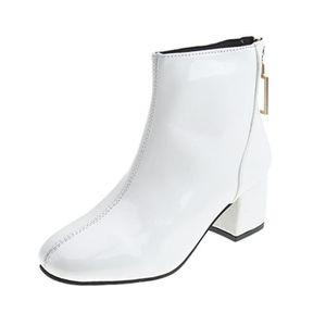 haut Toe Zipper à Round court femmes Mode Bottes talon Bottes place Chaussures blanc Retour XN0wkO8nZP