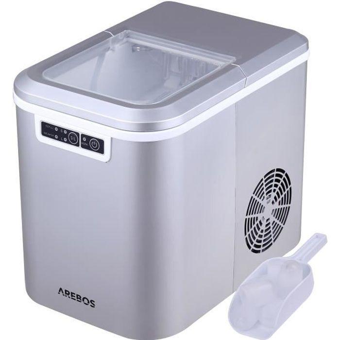 AREBOS Machine à Glaçons 2,2L Icemaker Machine à Glace 12KG/24h