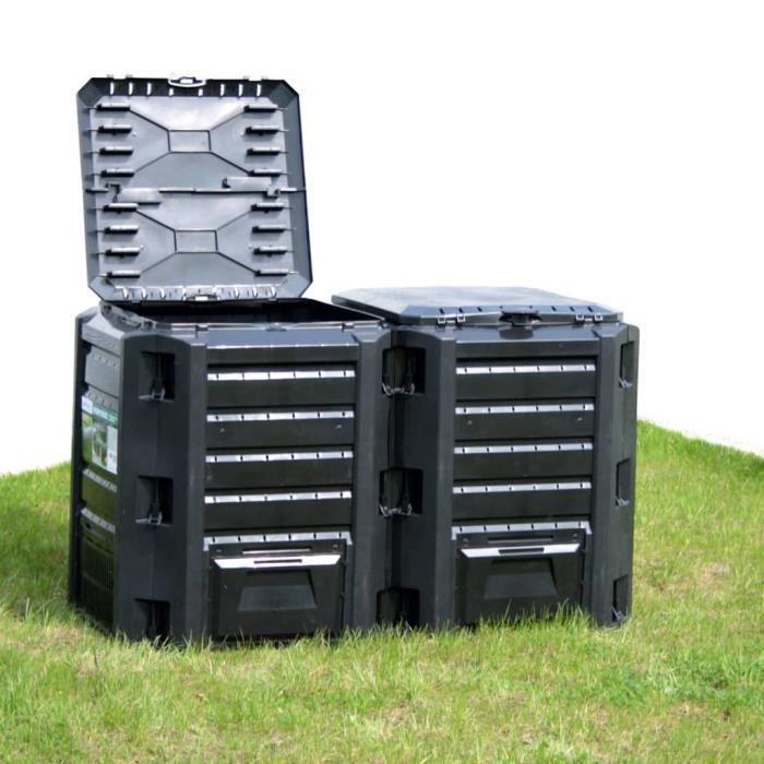 MBP® Composteur de jardin Haut de gamme - Bac à compost Noir 380 L *955438