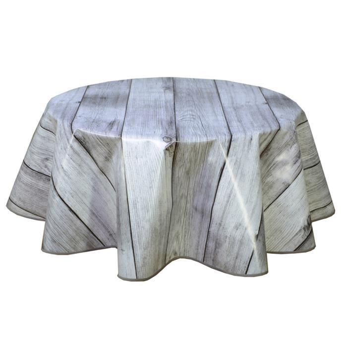 Nappe PVC ronde 135 cm finition biais PLANCHE GRISE