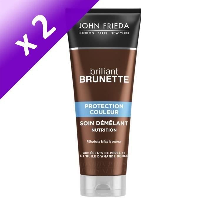 JOHN FRIEDA Soin démêlant Nutrition Protection Couleur Brilliant Brunette - 250 ml (Lot de 2)