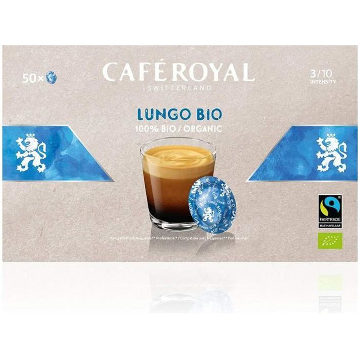 CAFE ROYAL PRO - 150 CAPSULES COMPATIBLES NESPRESSO PRO® - LUNGO BIO - 3 Boites de 50 Capsules Compatibles Nespresso Pro®