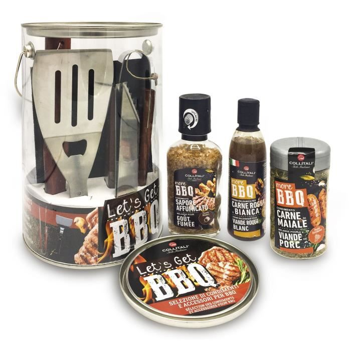 COLLITALI KIT BBQ : créme vinaigre moutarde 250 ml, sel fumé 272 g, mélange sel, herbes, épices 265 g, spatule + pince.