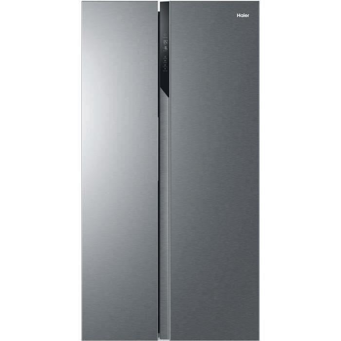 HAIER HSR3918FNPG - Réfrigérateur américain - 504L (337+167) - Froid ventilé - A+ - L90,8 x H177.5 cm - Inox
