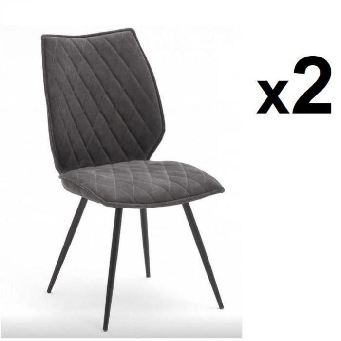 Lot de 2 chaises design NIME tissu anthracite et pieds laqués anthracite gris tissu Inside75