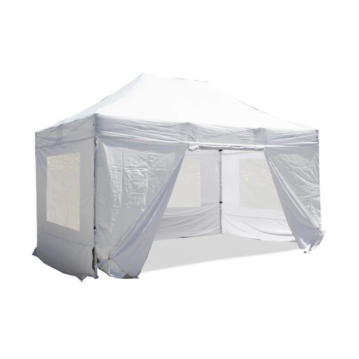 Tente pliante Barnum Tonnelle 3x4.5m polyester 300g/m² pelliculé PVC tube aluminium 40mm hexagonal Montage minute + bâches fenêtres