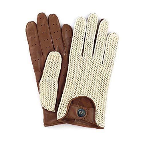 Gants de Conduite en Cuir Sans Doublure en Crochet de Coton Sur le Dos Gant Hommes Respirant Style Vintage Rétro Gants de En Cuir