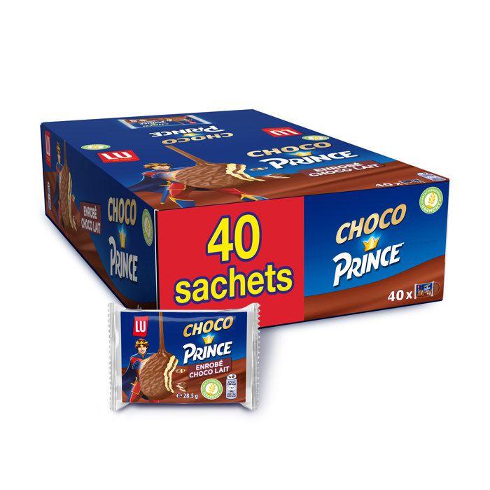 Choco Prince de LU - Biscuits enrobés de chocolat au lait et fourrés goût chocolat - Au blé complet - Pack de 40 paquets x 28,5 g