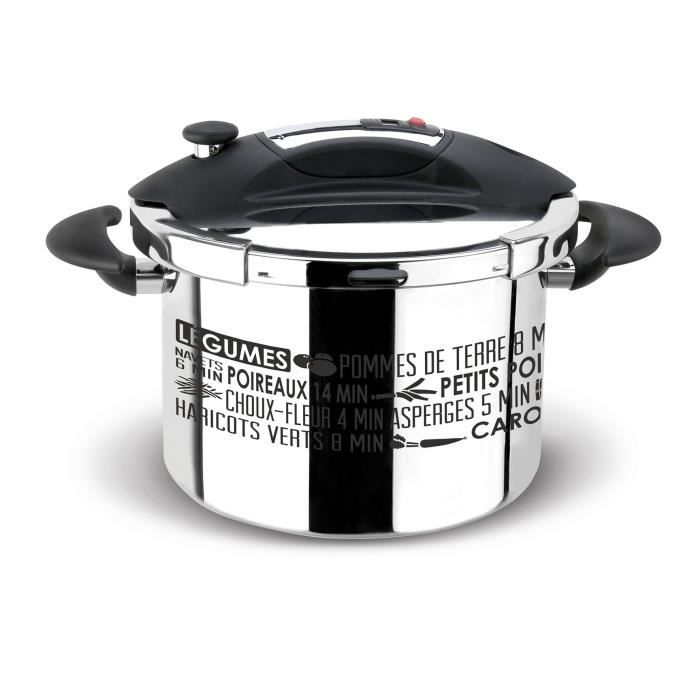 SITRAM - 711937 autocuiseur sitraspeedo inox 8l noir sérigraphie + panier induction