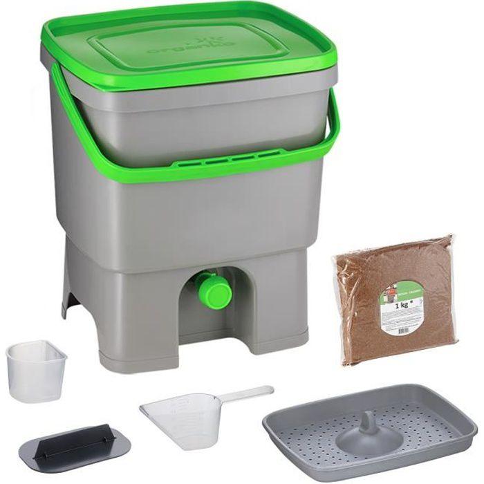 Skaza Bokashi Organko (16 L) Composteur en Plastique Recyclé - Starter Set pour les Déchets de Cuisine et le Compostage - avec de EM