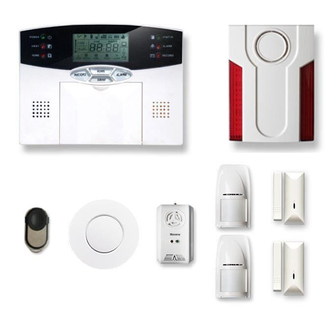 Alarme maison sans fil 1 à 2 pièces MN mouvement + intrusion + détecteur de fumée + gaz + sirène extérieure - Compatible Box