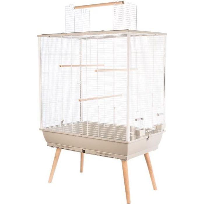 ZOLUX Cage surélevée Néo Jili pour oiseaux - L 78 x P 47,5 x H 112 cm - Beige