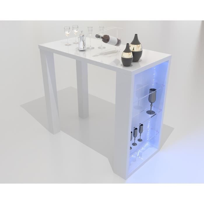 Bar table design blanc laqu bordeaux meuble salon achat - Table de bar blanc laque ...