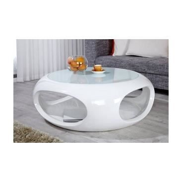 table basse ronde moira - blanc - - achat / vente table basse