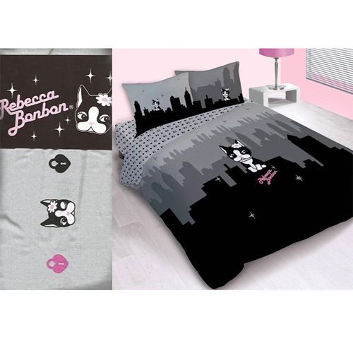 Drap housse rebecca bonbon new york 2 places achat for Drap housse new york