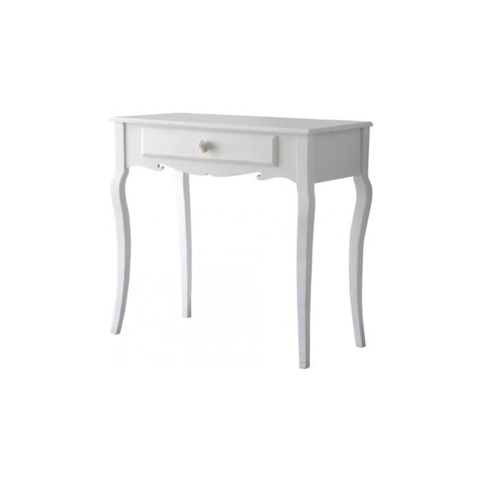 console pin massif blanc 1 tiroir pieds galb s achat vente console console pin massif blanc. Black Bedroom Furniture Sets. Home Design Ideas