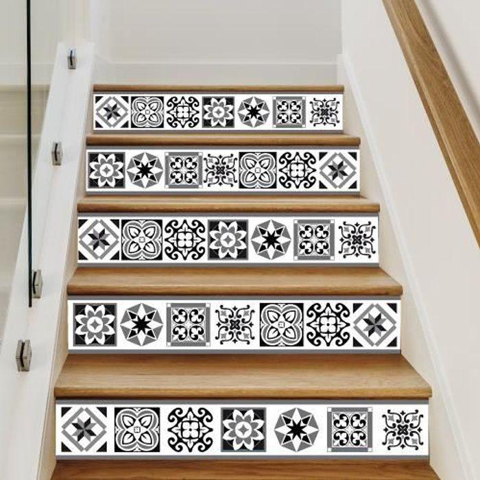 Sticker Contremarche Lot De 4 Risertiles Adhesif Pour Escalier Dimensions 1m X 15 Cm