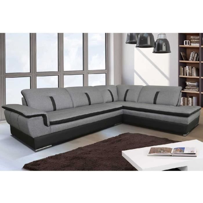 canap d 39 angle marion gris noir angle droit achat vente canap sofa divan cdiscount. Black Bedroom Furniture Sets. Home Design Ideas
