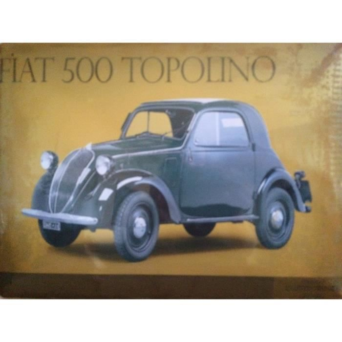 Plaque metal gd mod le fiat500 topolino achat vente for Decoration murale fiat 500