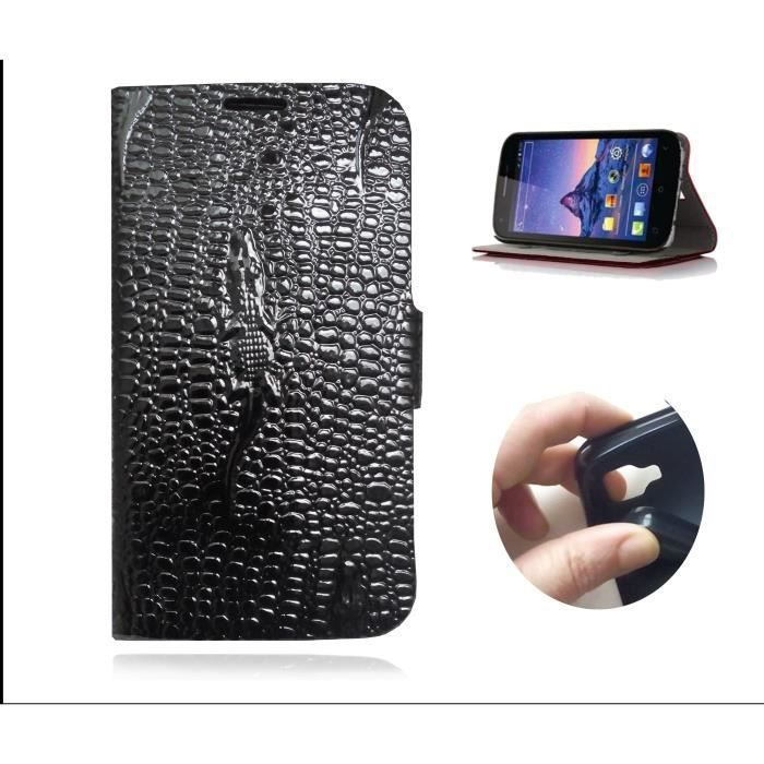 etui KAEESI® croco noir glossy vernis pour Samsung