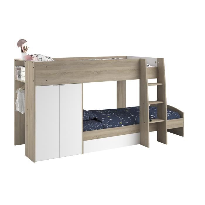 mist lit superpos enfant sommiers blanc et ch ne brut l 122 x l 280 cm achat vente. Black Bedroom Furniture Sets. Home Design Ideas